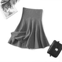 Women's Shorts women's skirts knitted, autumn, sexy, high waist, short, umbrella, pleated skirt, miniskirt elastic mesh 1YVS