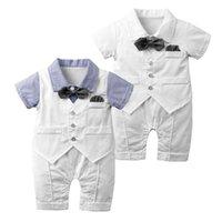 Neugeborene Strampler Baumwolle Revers Halsband Kurzarm Strampler Baby Infant Boy Designer Kleidung Kleinkind Strampler für 0-24 Monate 83 Y2