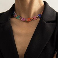 새로운 트렌디 한 ins 다채로운 전체 다이아몬드 지르코니아 모조 다이아몬드 예쁜 3D 나비 목걸이 패션 여자 문장 목걸이 골드 실버