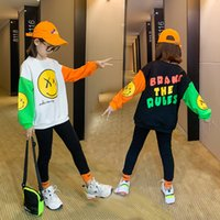 Big Girls Spring and Autumn T-Shirt Suit Middle School Children Leisure Korean Style Sweater Two-piece Set Kids Long Sleeve Clothing MZ 001