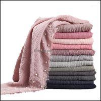 Bandanas Wraps Hats, Scarves & Gloves Fashion Aessories Designs Cotton Scarf Beads Bubble Pearl Wrinkle Shawls Hijab Drape Stitching Fringe
