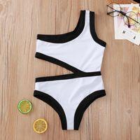 One-Pieces Baby Girl Bikini Set Kids Girls Swimsuit Solid One-piece Swimwear Summer White Black Beach Bathing Suit