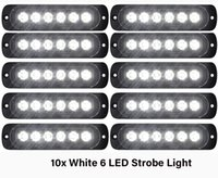 10 stücke Weiße Notfallblitzlichter 6-LED-Strobe-Warnung 6-SMD-Blinklicht VORSICHT-Bau-Lichtstange Van Off Road-Fahrzeug ATV SUV