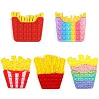 Fidget Toys Color Series Burger Fries Popits for Kid Squishy Sensory Anti Stress Game Hand Puzzle Easy Stress Relief Gift