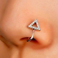 1Pcs Crystal Triangle Fake Piercing Nose Ring C Shape Clip Can Also Be Ear Clips Cuff Body Jewelry