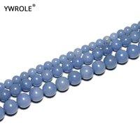 + 100% Doğal Mavi Angelit Yuvarlak Taş Boncuk Takı Yapımı için 6/8/10 MM DIY Bilezik Kolye Strand 15.5 '' İyi Şanslar