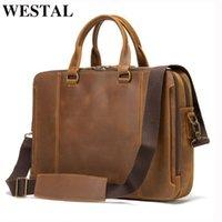 Briefcases WESTAL Laptop Bags 15.6 Inch Office Bag For Men 's Briefcase Handbag Vintage Designer Men's Genuine Leather Business