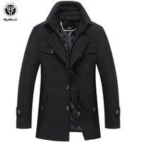 Veste de laine d'automne Manteau d'hiver Homme Fashion Homme long de survêtement Hommes de laine Coller solide Col double Col épaissi la larve des côtés