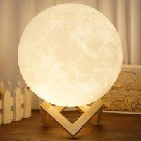 Şarj Edilebilir 3D Büyülü LED Gece Işık Ay Lambası Masası USB Şarj 2 Renk Değişim Dokunmatik Kontrol Ev Dekorasyonu Yaratıcı Hediye