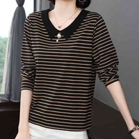 Women's T-Shirt Long sleeve striped with cleavage in Korean v fashion t female shirt spring fall tops beads woman femme ISOJ