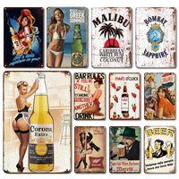 2021 Design drôle design Classic Whisky Affiche de fer peinture Retro Metal Tin Signes Mojito Martini Cuba Libre Cocktail Plaque Pub Bar Art Stickers Art Décor