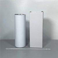Lager! 20oz raka sublimering skinny tumblers med plast halm och en gummiband vit dubbel vägg 304 rostfritt stål isolerat kaffe rånar A17