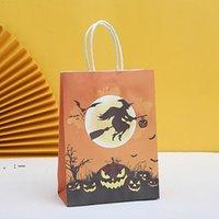 Хэллоуин подарки обертки сумка конфеты упаковочные сумки с ручкой дети трюк или лечение тыквенные ведьмы, покупки Kraft Paper закусочный пакет OWD10319