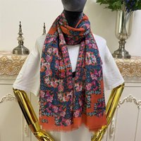 Women's scarf 55% silk 45% cashmere material thin and soft print flowers patten long scarves for women size 170cm -65cm