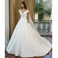 Other Wedding Dresses Boho Simlple Lustrous Satin Bridal Gown 2021 Sexy Boat Neck V-neck Bride Dress Vestido De Novia Court Train