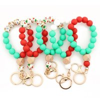 Bangle Christmas Matte Silicone Beads Elastic Bracelets Key Rings For Women Personality Gift Keychain Wrist Bangles Wholesale