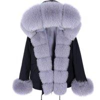 maomaokong Parka Winter Jacket Women Real Fur Coat Big Natural Raccoon Fur Hood Thick Warm short Parkas Streetwear 211013