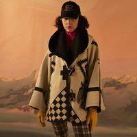 Women's Wool & Blends WEPBEL Women Cloak Long-Sleeved Hooded Woolen Jacket Coats Autumn Printed Overcoat Pocket Horn Button Outwear