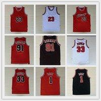 التطريز 23 MJ مايكل 1 ديريك روز كرة السلة الفانيلة تنفس الرياضة 33 سكوتي بيبن 91 دينيس رودمان الرياضية جيرسي مخيط