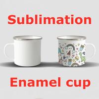 Sublimation EnaMel Coupe 12oz Tumbler White Blanc Tasses à café d'eau DIY Bouteilles d'eau Portable et léger Transfert thermique Tasse A13