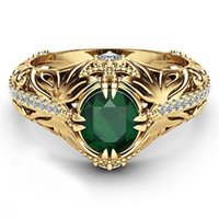 Emerald Color 14k Gold Plated Luxury Ring For Woman Men Engagement Wedding Ring