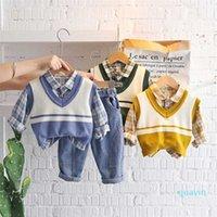 Baby Girls Cotton Clothes Spring Autumn Children Shirt Sweater Vest Plaid Shirt Pants 3Pcs Set Infant Outfit Kid Fashion Toddler 211020