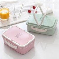 Tarwe Straw Student Lunchbox Japanse Servies Partitie Thermische Isolatie Bento Plastic Vierkante Fast Food Boxs Magnetron