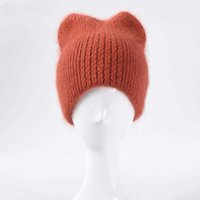30% Rabbit Fur Beanie Hat Women Winter Hats Bling Sequins Knitted Warm Skullies Beanies For Women Gorros Female Cap 210531