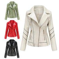 Women's Leather & Faux 4 Colors PU Short Jacket Women Zipper Slim Coats Female Streetwear Long Sleeve Turn Down Collar Casual Biker Outerwea
