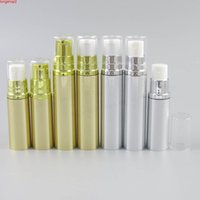 12 x 5ML 10ML Gold Silver Travel Refillable Airless Bottles White Pump Clear Cap 1 6oz 1 3oz Airlless Lotion pump Containersgood qty