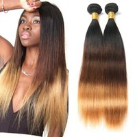 Three Tone Bundles Ombre Brazilian Straight 1B 4 30 Colored Human Hair Weave Extensions for Women