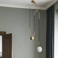 Pendentif industriel nordique lumières de lampe de verre boule de billes moderne design d'éclairage intérieur chambre à coucher de chambre de lustre décor
