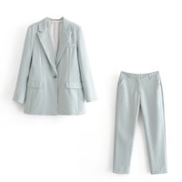 Women Suits Casual Women Pink Blazer Autumn Single Button Long Sleeve Female Office Pants Blazer Suits Winter Ladies Outwear