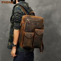 Backpack PNDME Men's Vintage Genuine Leather Women's Travel Bagpack Simple Daily Brown Laptop School Bag