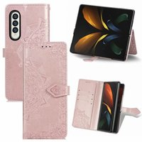 Henna Flower Leather Wallet Cases For Samsung Galaxy Z Fold3 Fold 3 Fashion Kickstand Stand Holder Flip Cover Embossed Datura Lace Mandala Card Slot Lady Purse 1PCS