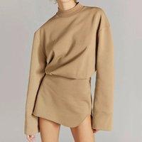 Casual Dresses 2021 Early Autumn Women's Bag Hip Short Skirt Waist French Temperament Long-Sleeved Design Niche Dress Knit