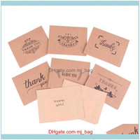 Greeting Cards Event Festive Supplies Home & Garden1Set Thank You Kraft Envelopes Seal Wedding Party Mini Brown Paper Card Envelope Sticker
