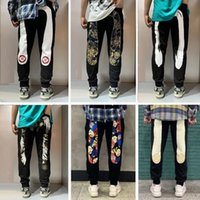 Designers europeus e americanos verão fina estrela mesmo jeans homens slim pequenos corcões reta buraco burghar calças retrô