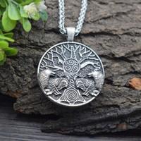 Correntes Sanlan Norse Viking Celtics Tree of Life Casal Lobo Colar Amuleto Homens Presente