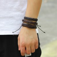 Bracelet en cuir MultiLayer Braid Wrad Bracelets Punk Casual Bracelet 3041 Q2