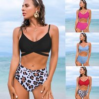 One-Piece Suits Leopard Mid-waist Two Pieces Swimwear Women Swimsuit Sexy Lace Up Bikini Sets 2021 Beach Bathing Suit