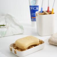Nueva caja de plato de jabón caja de plato de plato de plato de plato de madera caja de contenedores para baño de baños con estuche de transporte DHB5419