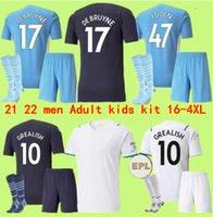 Soccer Jersey 21 22 Grome Sterling G. Jesus City Sterling Ferran de Bruyne Fans speler 2021 2022 Madchesters Football Shirts Mannen + Kids Kit