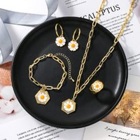 Earrings & Necklace Fashion Small Daisy Tulip Flower Vintage Bracelets Metal Gold Color Rings For Women Party Jewelry Gifts