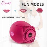 Rose Flower Sucking Vibrator per le donne Clit Sucker Vaginal Clitoral Stimolare giocattoli sessuali erotici per il masturbatore adulto capezzolo 210311