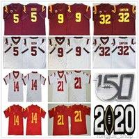 NCAA 150e USC Trojans # 5 Reggie Bush 9 Kedon Slovis 21 Jackson 14 Sam Darnold 32 JOJPSON 43 Troy Polamalu College Football Jerseys