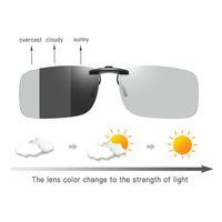 Clip photochromique sur lunettes de soleil Polaroid Lentilles Hommes de conduite de conduite à manches courtes Vision nocturne près de la vue Myopie Antiglare Goggle X0707