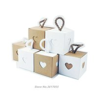 Gift Wrap 50pcs Heart Shape Kraft Paper Box Packaging Wedding Supply Birthday Party Jewelry Ring Favor Candy