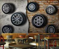 Wallpapers 3D Stereo Retro Nostalgic Car Tire Brick Wall Custom Wallpaper El Restaurant Mural Decor
