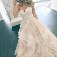 Lace Appliqued Tulle Tiered Skirts Bridal Gowns With Crystal Sash Vintage Gowns Simple Elegant Sweetheart A Line Beach Wedding Dr